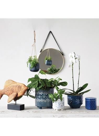 Warm Design Dekoratif Askılı Porselen Saksılık Mavi
